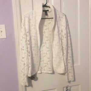 White, Lace Jacket, with floral design.